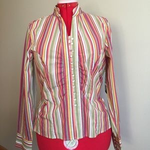 Relativity Fitted Shirt Multi Stripe Pearl Buttons